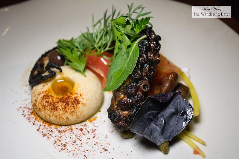 Octopus, habanero ink, ayocote, veracruzana sauce