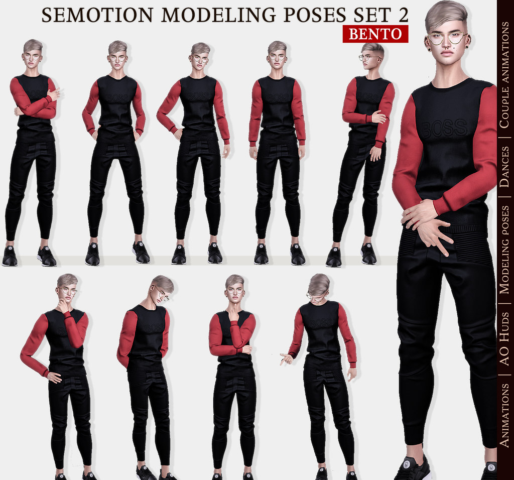 SEmotion Male Bento Modeling poses Set 2 - 10 static poses - TeleportHub.com Live!
