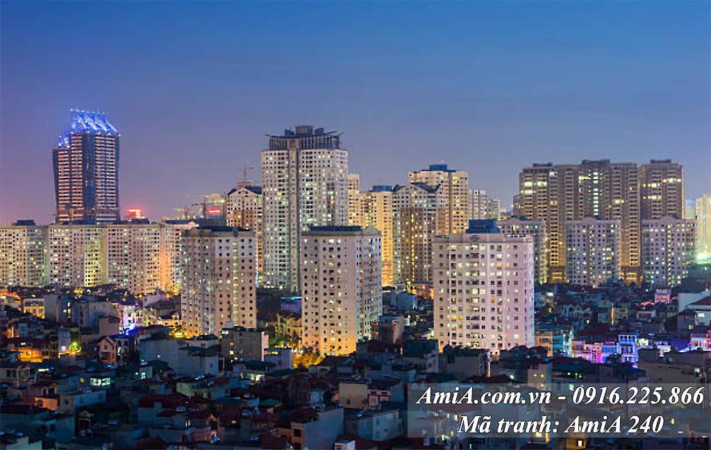 AmiA 240 - Tranh quê hương cảnh thành phố nhộn nhịp ánh đèn