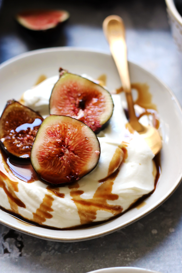 Whipped Almond Yogurt Cream with Figs and Balsamic Syrup