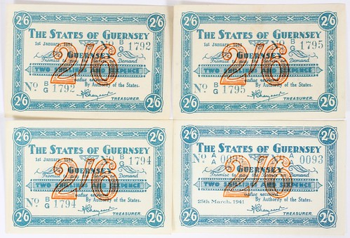 1941 Guernsey Two Shilling Sixpence Notes