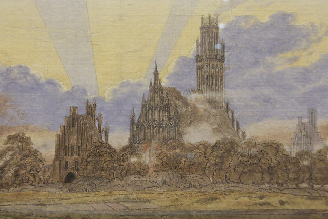 Detail - Neubrandenburg in Flames, Casper David Friedrich, c.1834