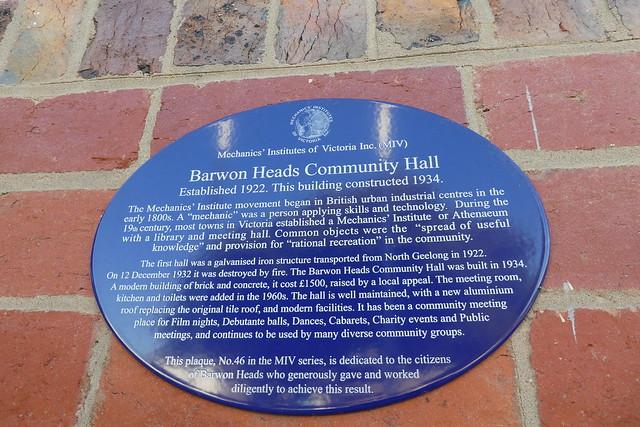 Photo of Barwon Heads Community Hall blue plaque