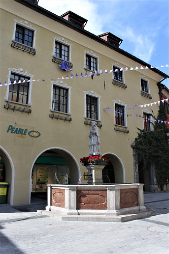 Milka flags in streets of Bludenz
