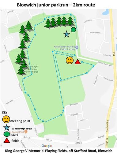 Bloxwich junior parkrun route