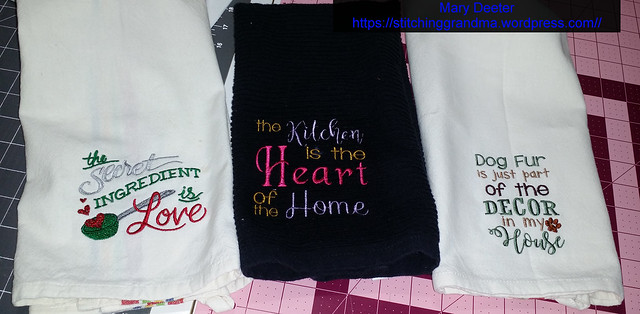 Fun stitching on Kitchen towels