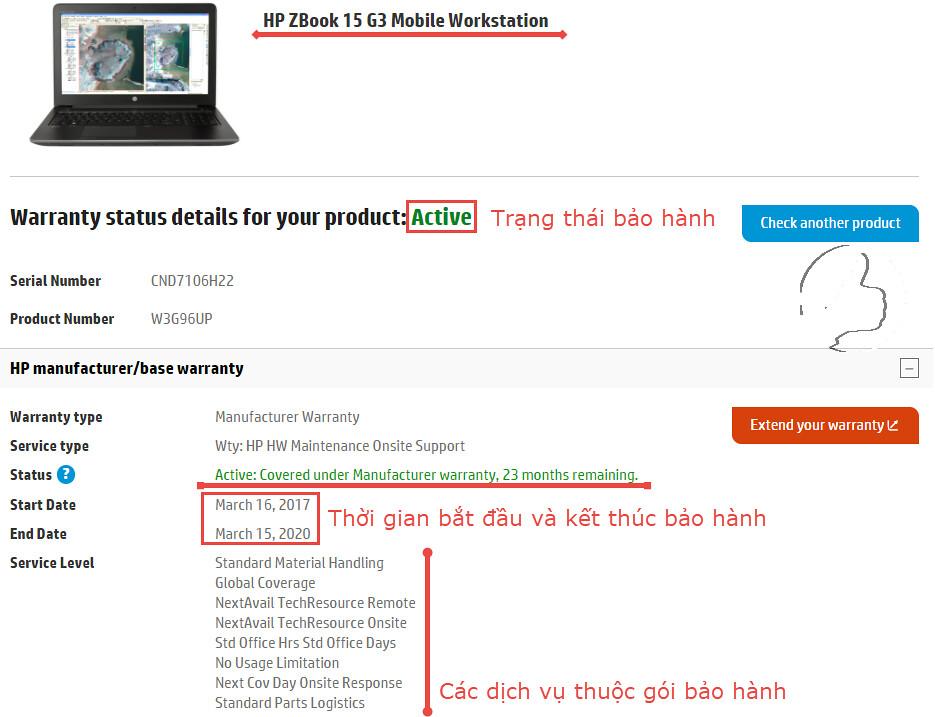 Thông tin bảo hành HP ZBook 15 G3