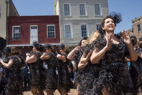 NOLA Chorus Girl dance performance during French Quarter Fest 2018 on April 15, 2017. Photo by Ryan Hodgson-Rigsbee RHRphoto.com