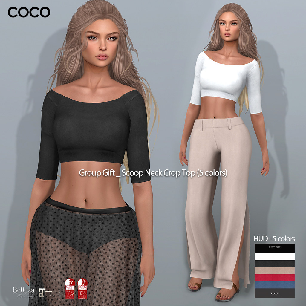 COCO Group Gift : Scoop Neck Crop Top (5 colors)