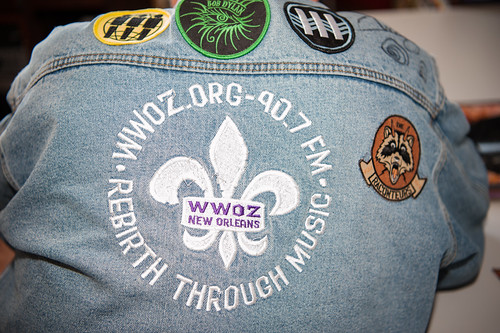 AJ Rodrigue's got his WWOZ jacket on day 1 of French Quarter Fest - April 12, 2018. Photo by Michael E. McAndrew Photography.