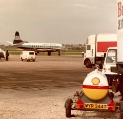 G-BFZL British Midland Airways Vickers Viscount at the old Birmingham Elmdon airport  BHX 19/04/80