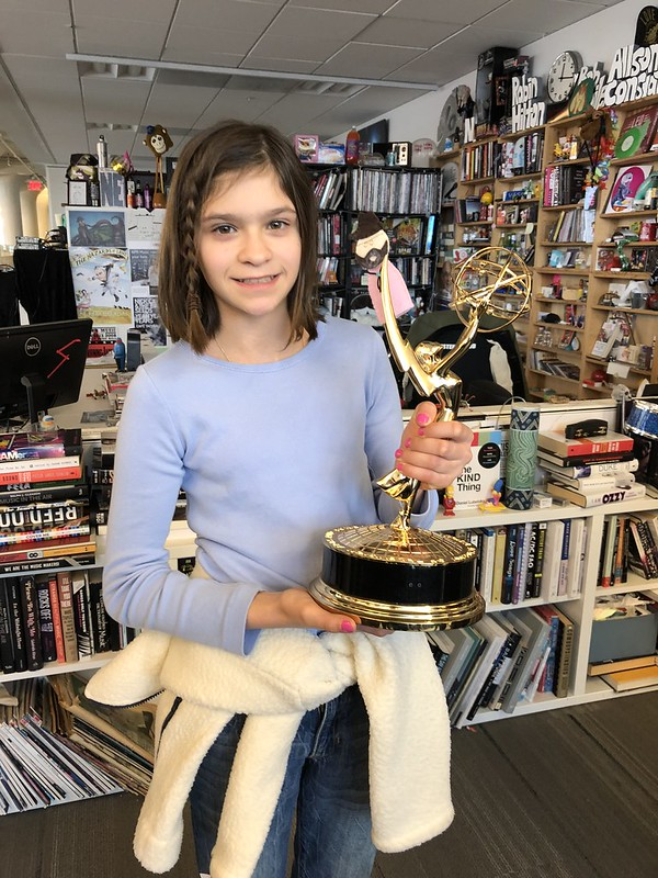 Catherine holding the NPR Tiny Desk Emmy