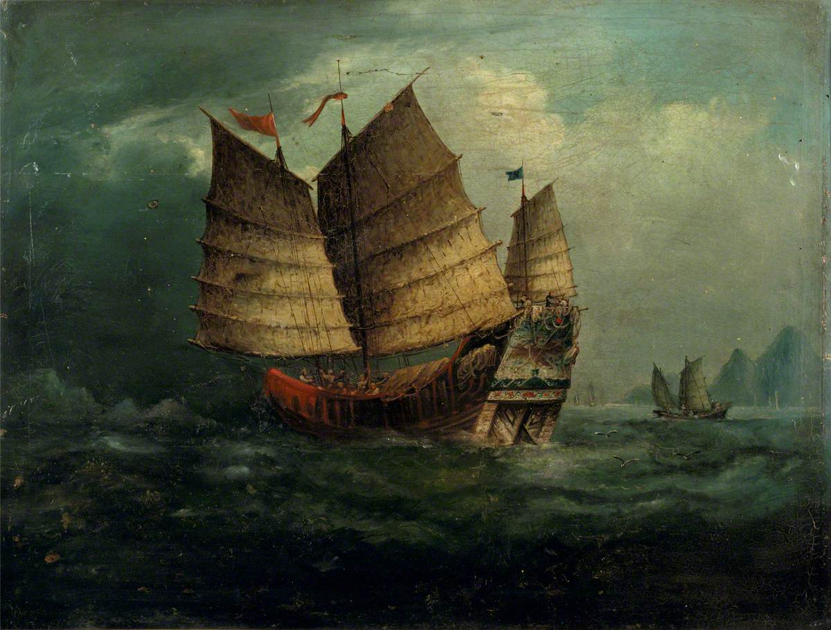 Painting of junks, circa 1850.