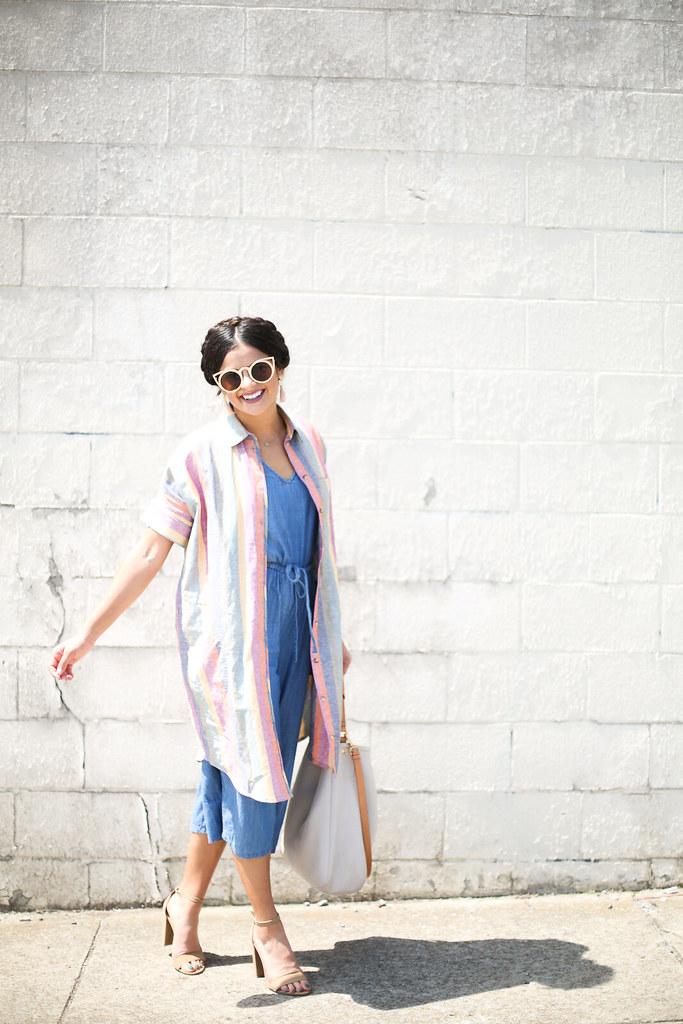 Priya the Blog, Nashville fashion blog, Nashville fashion blogger, Nashville style blog, Nashville style blogger, milkmaid braids, Madewell Rainbow Stripe Dress, chambray jumpsuit, Summer outfit, Madewell Rainbow Stripe, ban.do gold sunglasses, nude suede heels, rainbow tunic over chambray jumpsuit