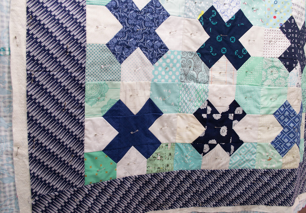 Tic Tac Toe quilt ready for quilting