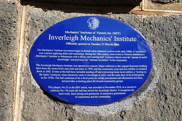Photo of Inverleigh Mechanics' Institute blue plaque