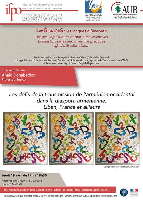 Les défis de la transmission de l'arménien occidental dans la diaspora arménienne, Liban, France et ailleurs
