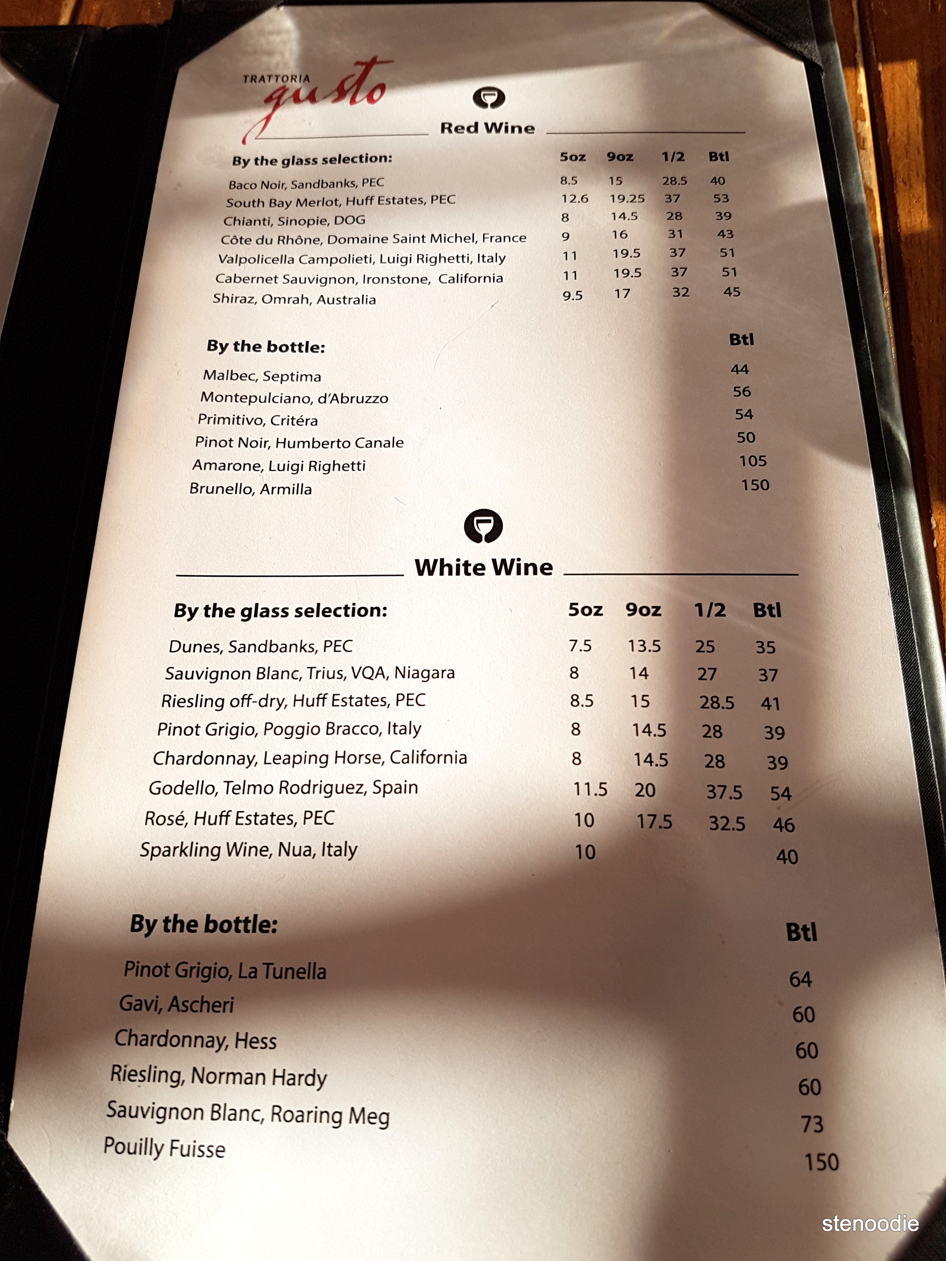 Trattoria Gusto wine menu