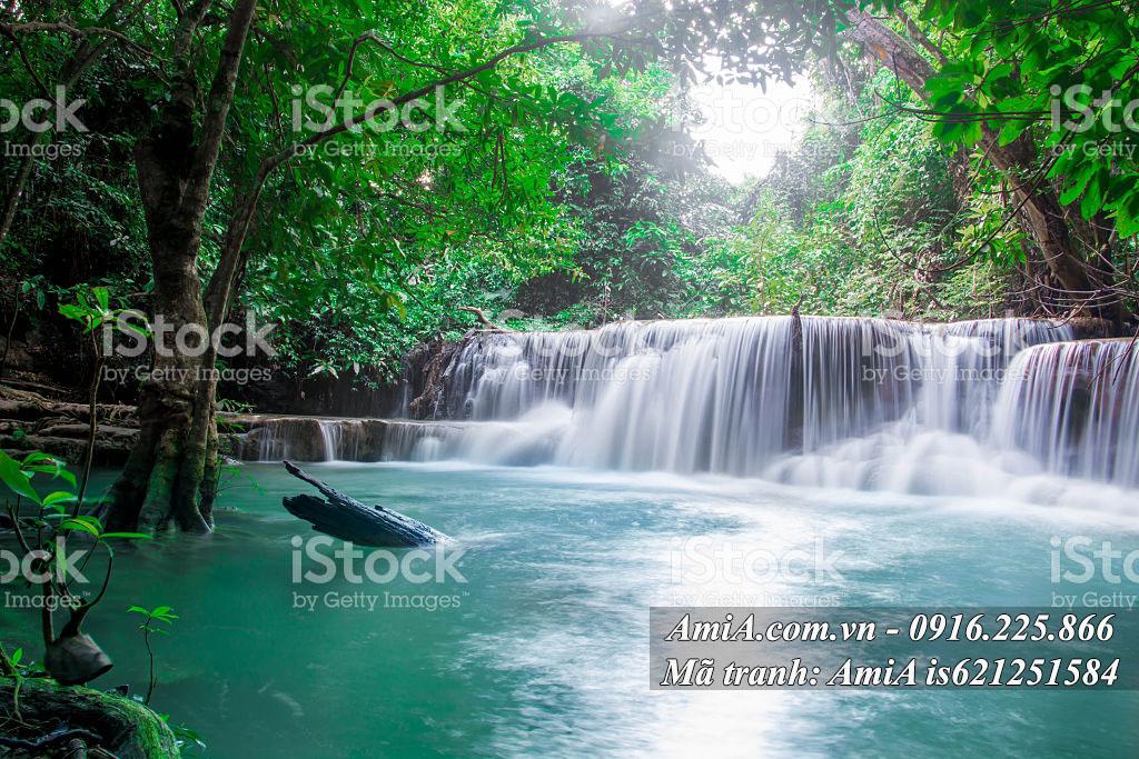 Tranh thác nước đẹp từ thiên nhiên treo phòng khách hiện đại