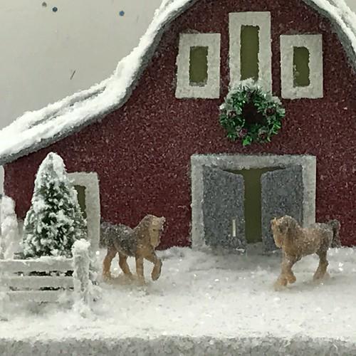 Putz Barn with horses