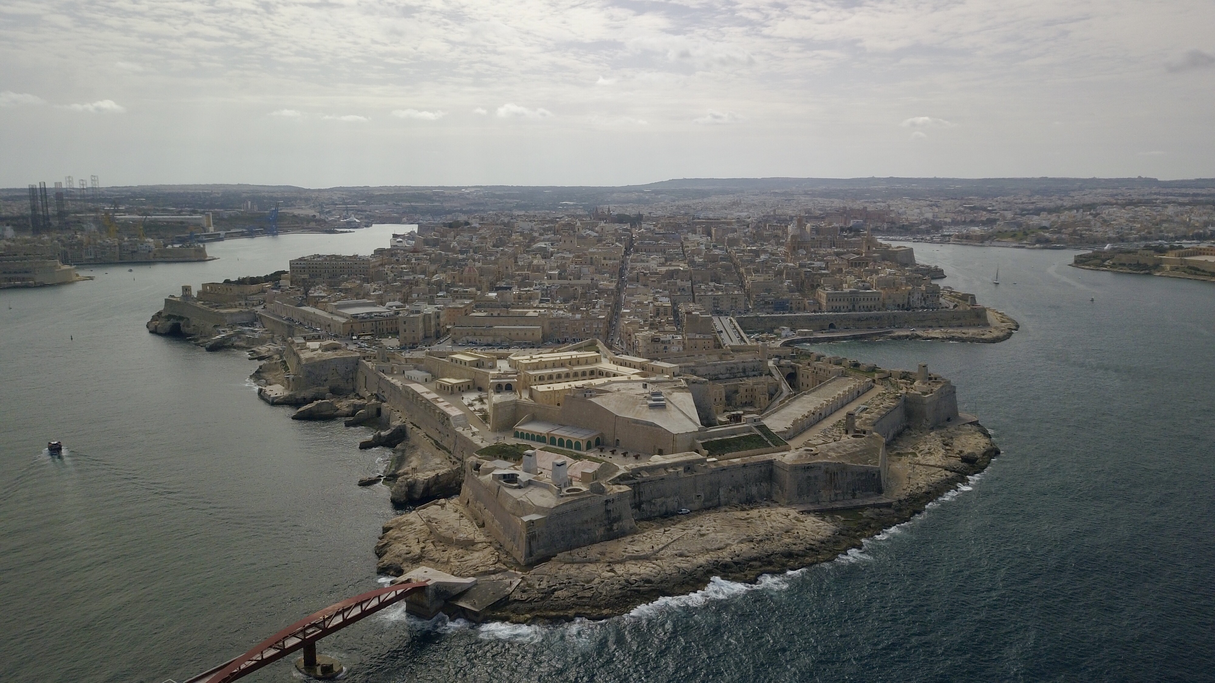 The old town of Valletta, as photographed by drone on February 24, 2018.