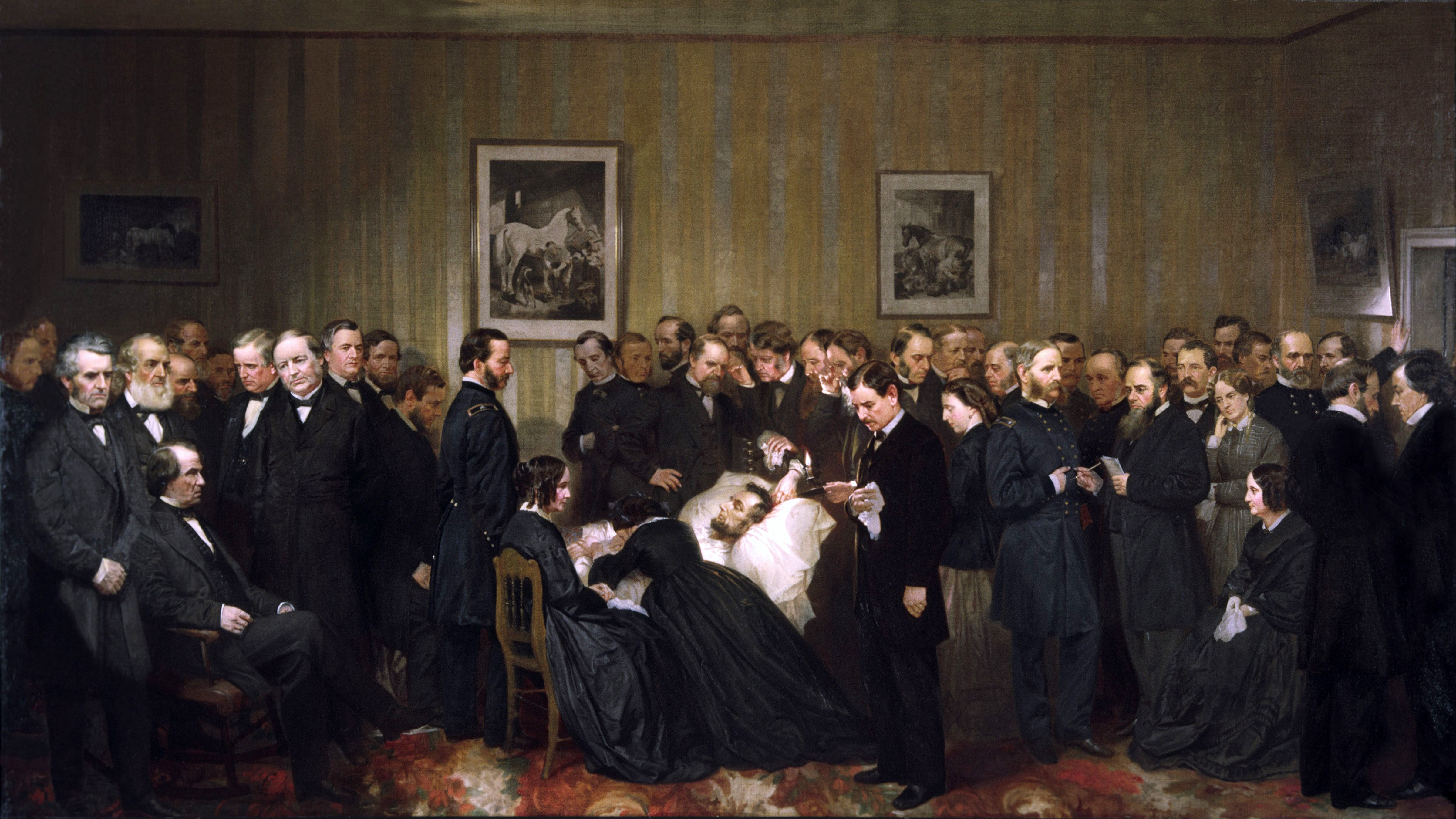 Designed by John B. Bachelder and painted by Alonzo Chappel, this work of art depicts those who visited the dying president throughout the night and early morning of April 14–15, 1865. These people did not visit Lincoln at the same time: they could not have all fit in the small first-floor room of the Petersen House. Lincoln's wife, Mary, is pictured in the center, lying across the president's body. His son Robert stands in the foreground to the right of the bed. Vice President Andrew Johnson is seated at the far left. Oil on canvas, 52 × 98 in (132 × 248.9 cm), 1868. Collection on Chicago History Museum.