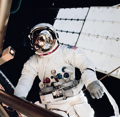 Astronaut Jack R. Lousma, Skylab 3 pilot, participates in the Aug. 6, 1973, extravehicular activity. Original from NASA. Digitally enhanced by rawpixel.