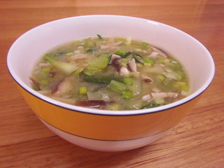 Clear Shiitake Soup with Bok Choy and Edamame