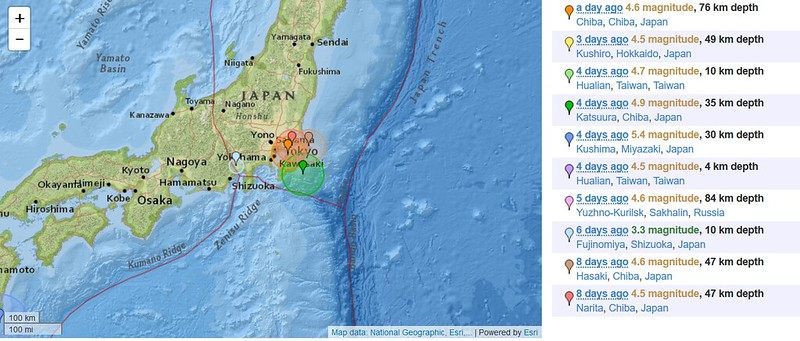 Earthquake in Japan 7-15 June 2018