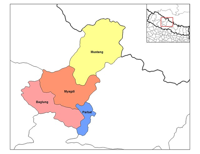 Dhawalagiri districts of Central west Nepal showing both the Mustang and Myagdi regions, both famous for Himalayan Treking