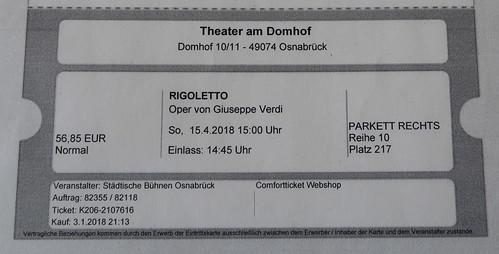 Eintrittskarte für Rigoletto (im Osnabrücker Stadttheater)