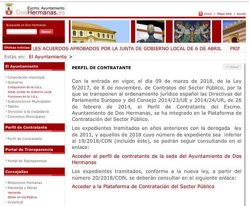 Perfil del Contratante de la web del Ayuntamiento