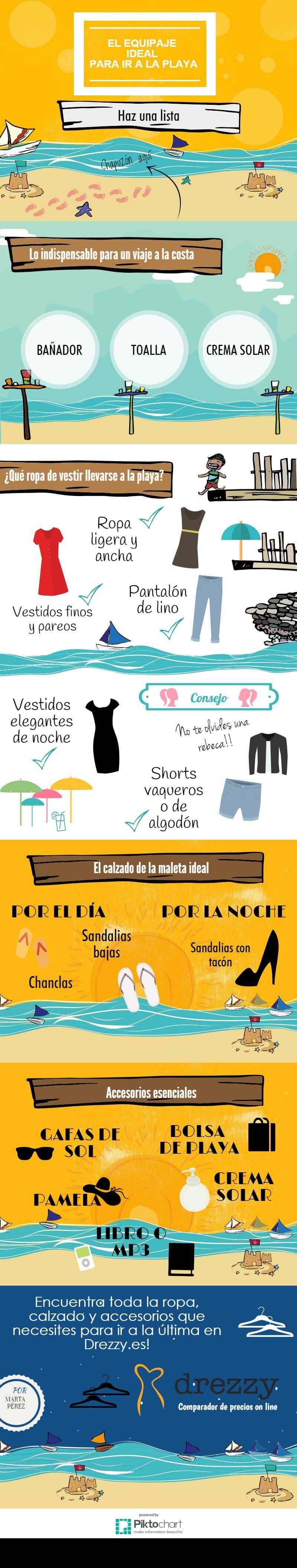 Qué empacar para un viaje a la playa infografía
