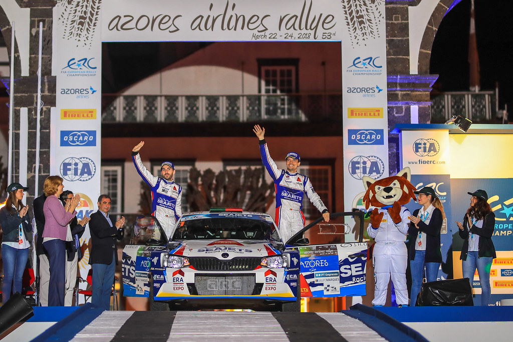 01 MAGALHAES Bruno (prt), MAGALHAES Hugo (prt), SKODA FABIA R5, podium during the 2018 European Rally Championship ERC Azores rally,  from March 22 to 24, at Ponta Delgada Portugal - Photo Jorge Cunha / DPPI