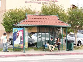 Bus stop, Magnolia St. above Bolsa Ave