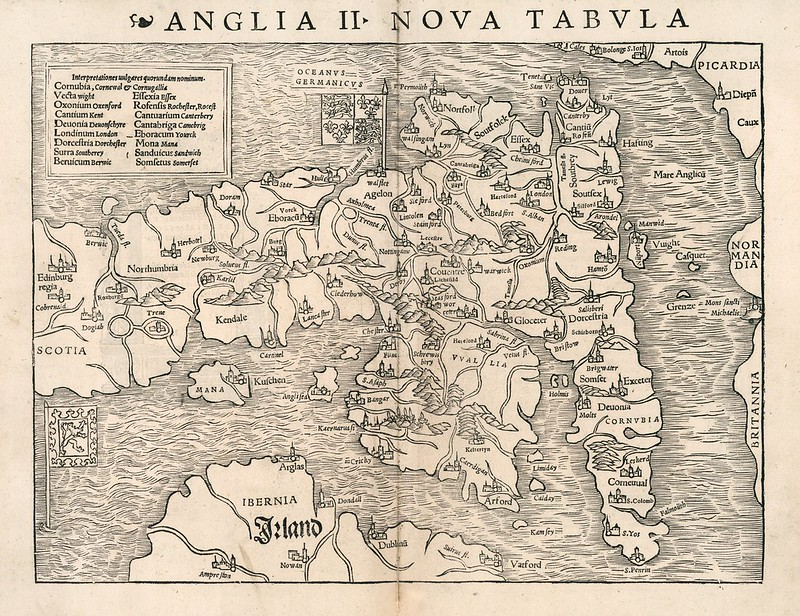 Sebastian Munster - Anglia II nova tabula (1540)