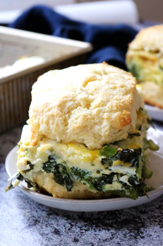 Spring Vegetable Egg Breakfast Sandwiches on Cream Cheese Biscuits