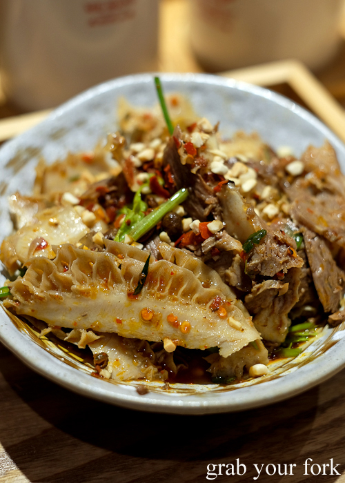 Cold beef, beef tongue and beef tripe at Mr Meng Chongqing Gourmet in Market City Chinatown Sydney