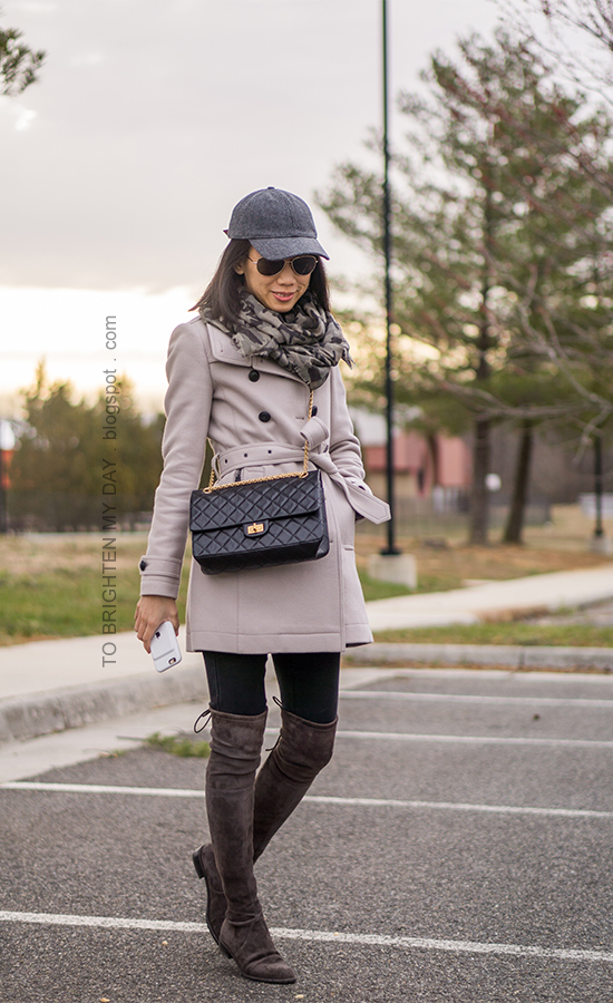 gray baseball cap, wool trench coat, black crossbody bag, skinny jeans, gray suede over the knee boots