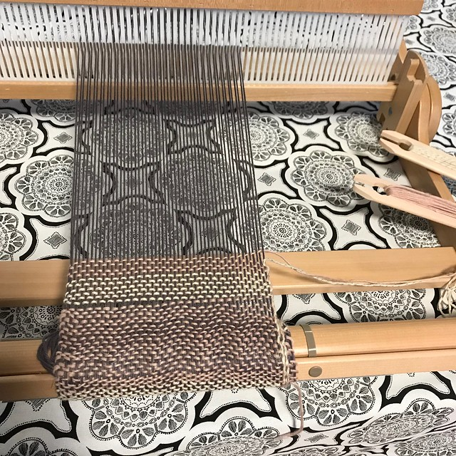 Weaving on my Ashford Knitter's Loom