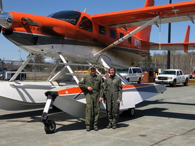 Maine and Atlantic Canada survey crew for 2018, Biologist/Pilot, Mark Koneff, and Biologist/Observer, Heidi Hanlon, in front of Quest Kodiak Amphibian N769. USFWS photo.