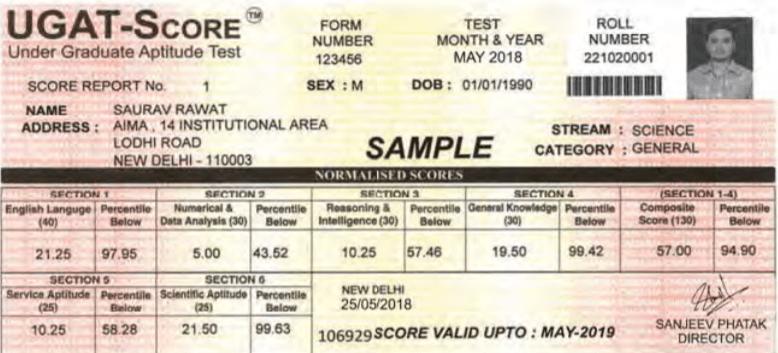 Sample UGAT Score Card