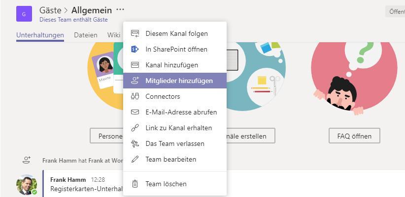 Microsoft Teams Gastzugang (1): Gast hinzufügen