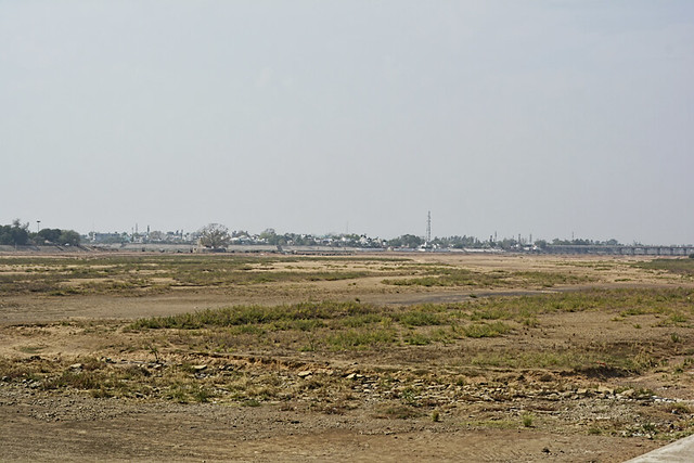 The dried Mahanadi basin at Rajim.