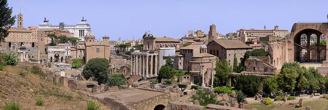 Forum Romanum at the center of Rome