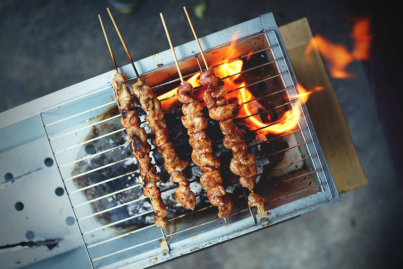 Crispy Fryday Jumbo Chicken and Pork Skewers on Grill