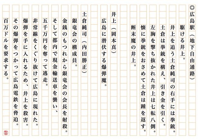 西部警察part2 広島市街大パニック 広島駅地下自由通路 ト書き