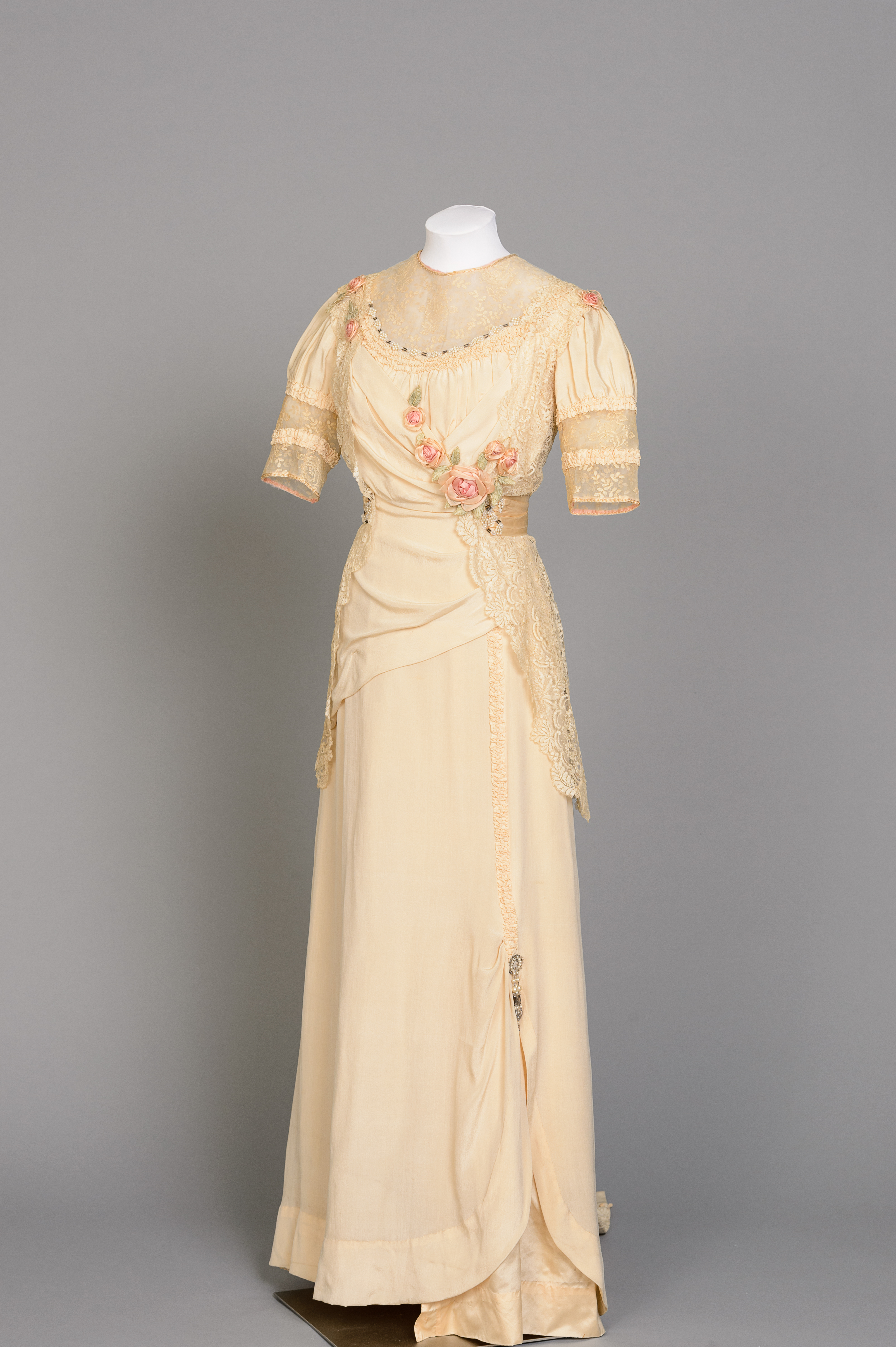 Fashion and Satire: Ivory Silk Evening Dress