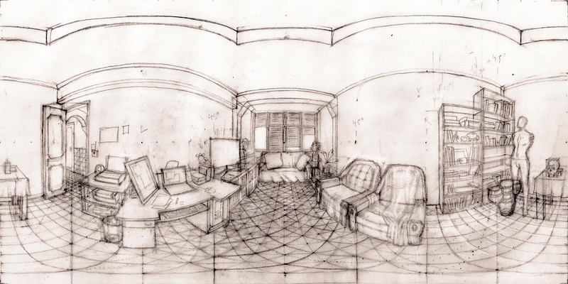 Equirectangular Sketch of my room - continued