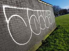 Jams graffiti in Jubilee park, Cardiff